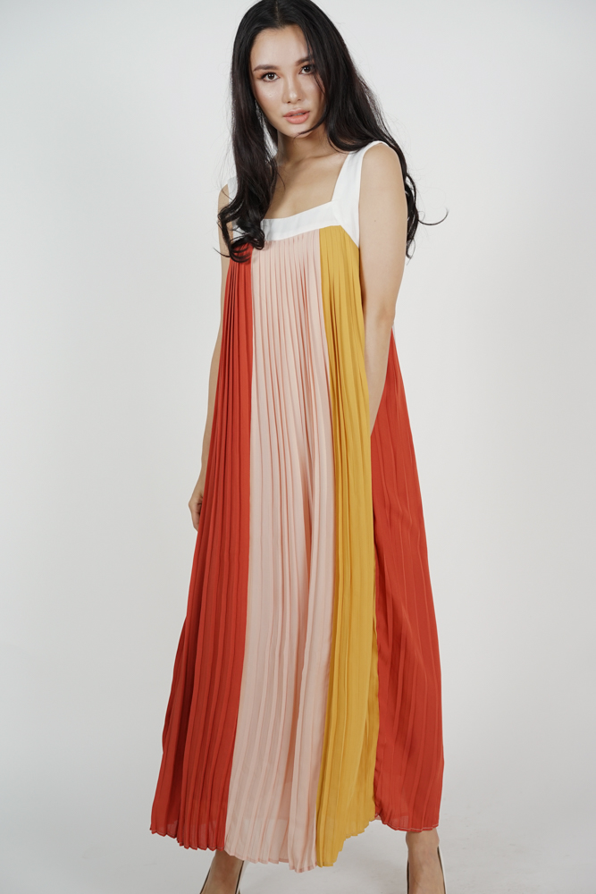 Color-Block Pleated Dress in Red - Arriving Soon