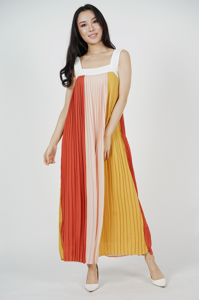 Color-Block Pleated Dress in Red