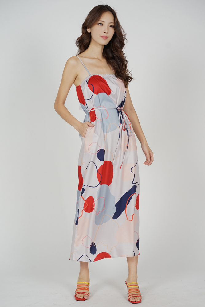 Kalbie Maxi Dress in Blue Abstract - Arriving Soon