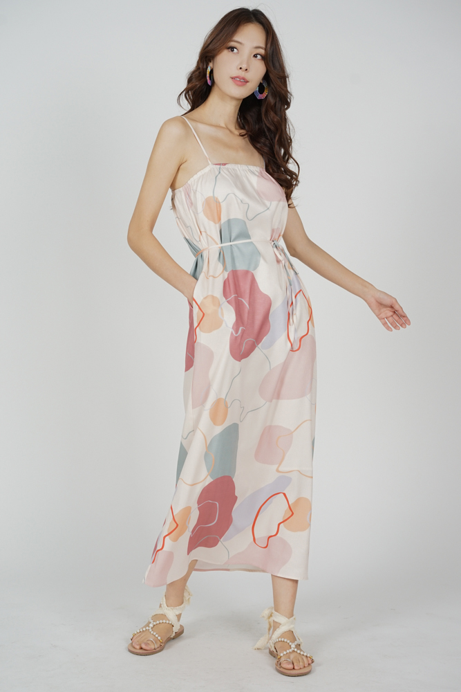 Kalbie Maxi Dress in Pink Abstract