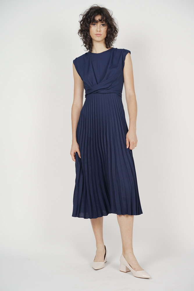 Cross-Front Pleated Dress in Midnight - Arriving Soon