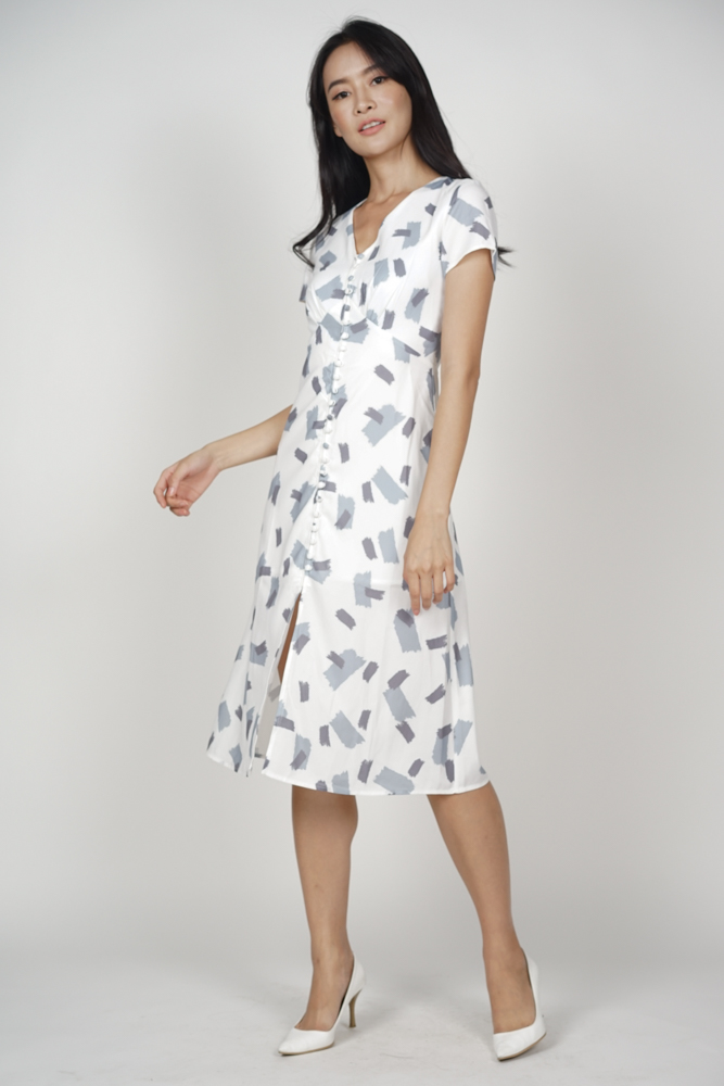 Kermin Button Dress in Grey Brush - Online Exclusive