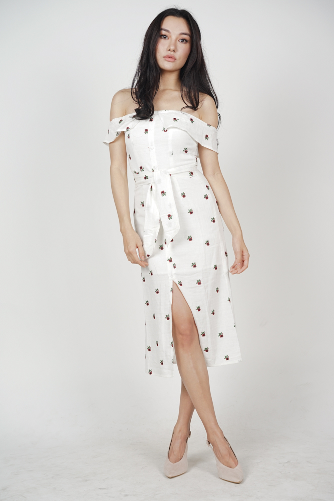 Ereni Slit Dress in White Floral
