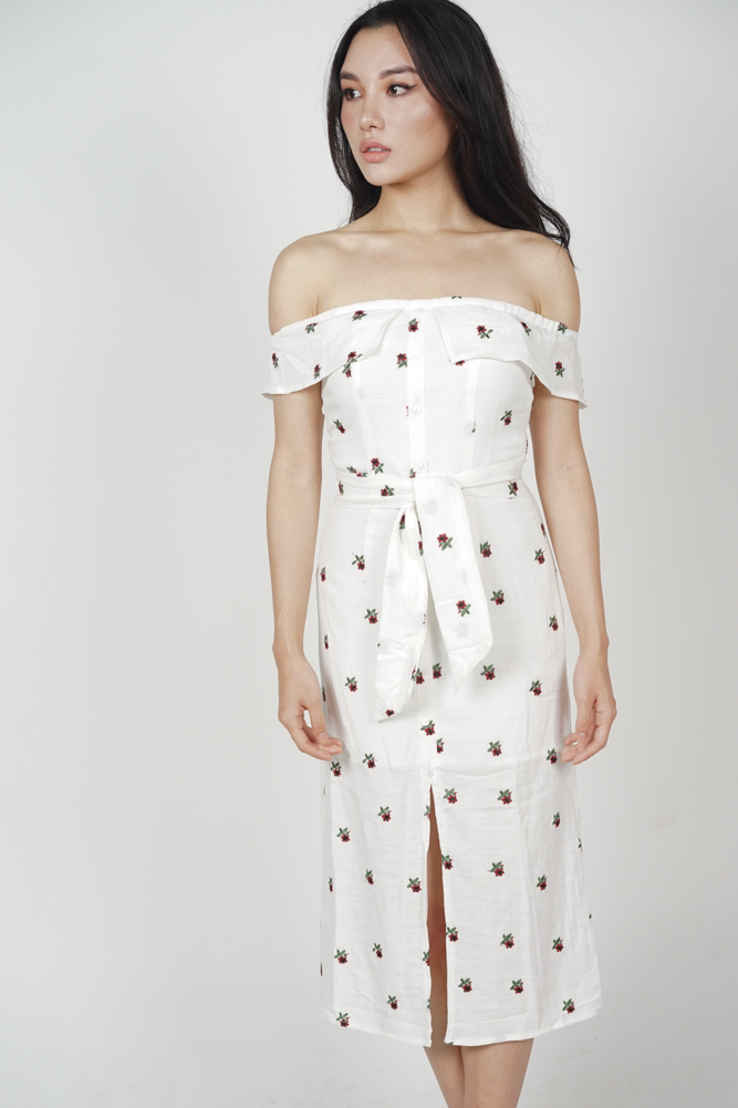 Ereni Slit Dress in White Floral - Arriving Soon