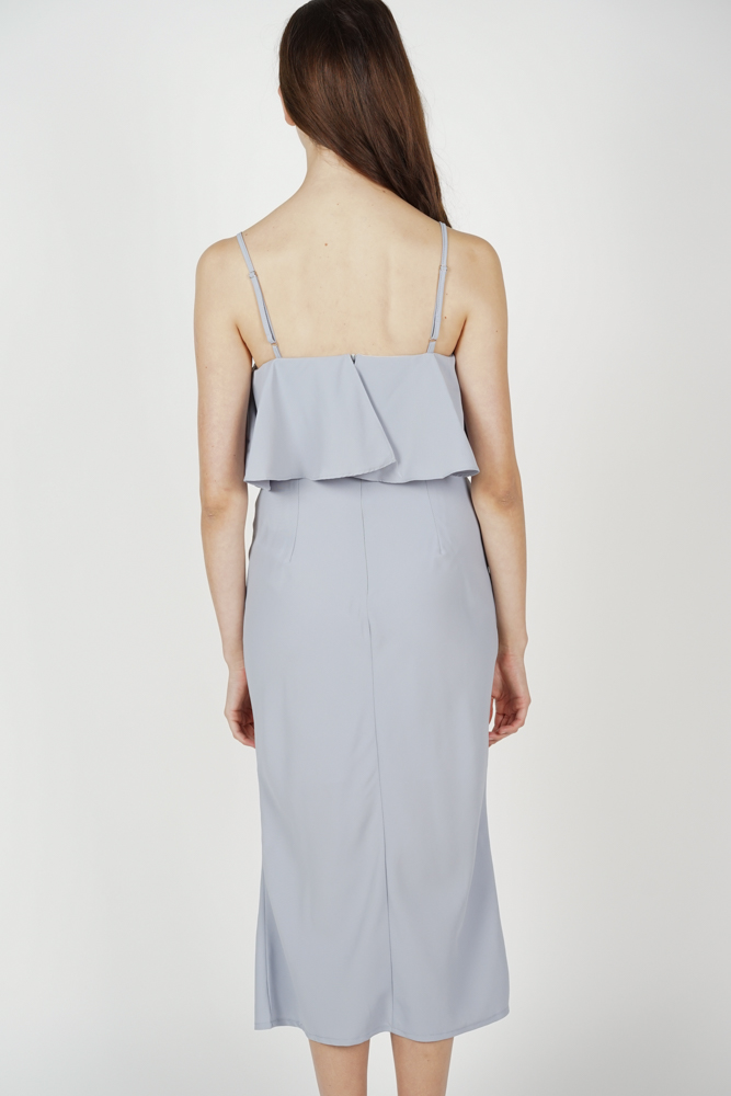 Mallory Overlay Dress in Ash Blue