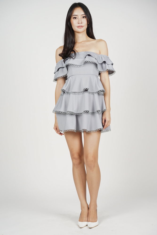 Ashley Flounce Dress in Grey