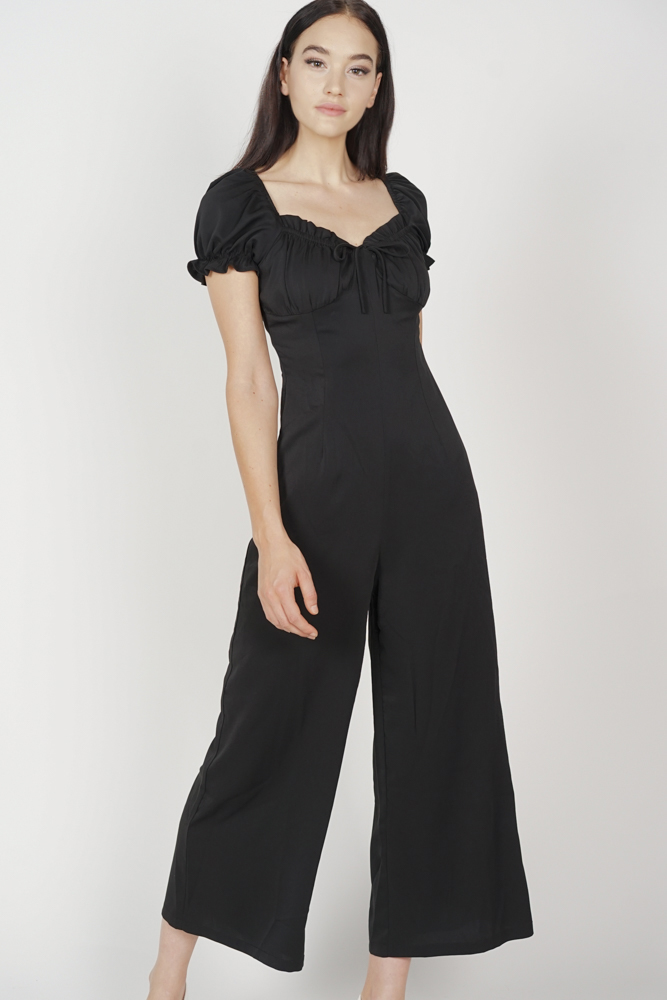 Lace-Up Puffy Jumpsuit in Black