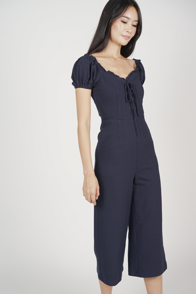 Kalila Puffy Jumpsuit in Midnight - Arriving Soon