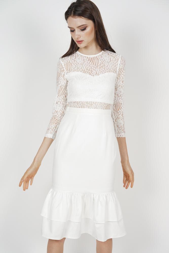Celine Lace Dress in White