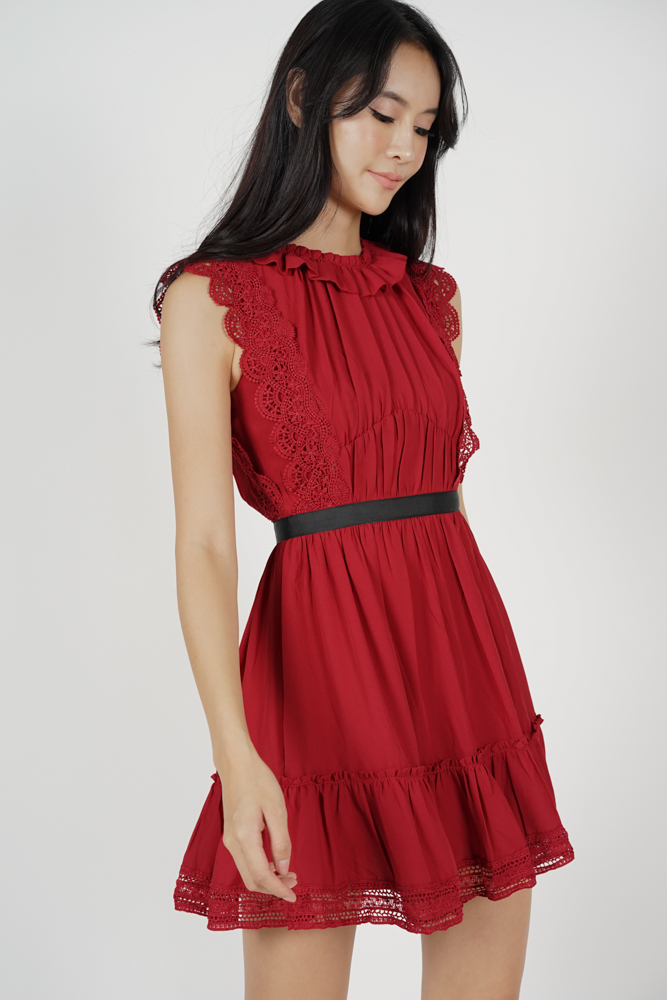 Kodie Crochet Dress in Red
