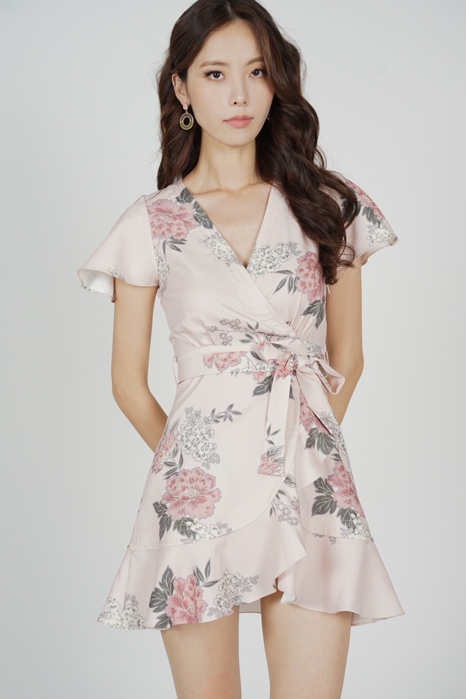 Racquel Flutter Ruffled Dress in Blush Floral
