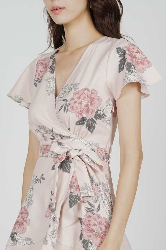 Racquel Flutter Ruffled Dress in Blush Floral - Arriving Soon