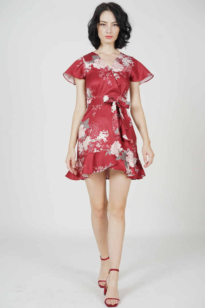 Racquel Flutter Ruffled Dress in Maroon Floral