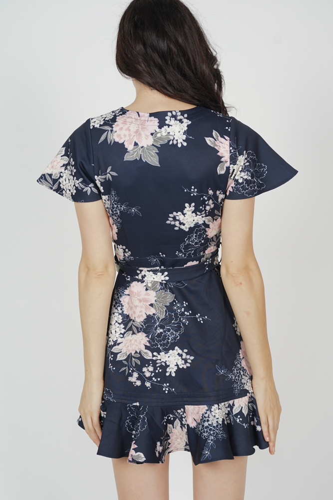 Racquel Flutter Ruffled Dress in Midnight Floral - Arriving Soon