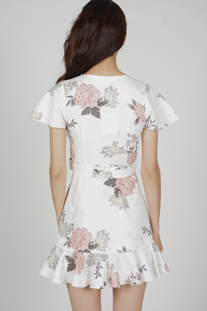 Racquel Flutter Ruffled Dress in White Floral - Arriving Soon