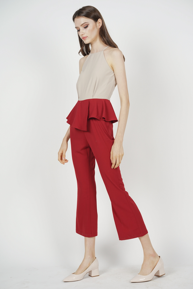 Janica Peplum Jumpsuit in Red