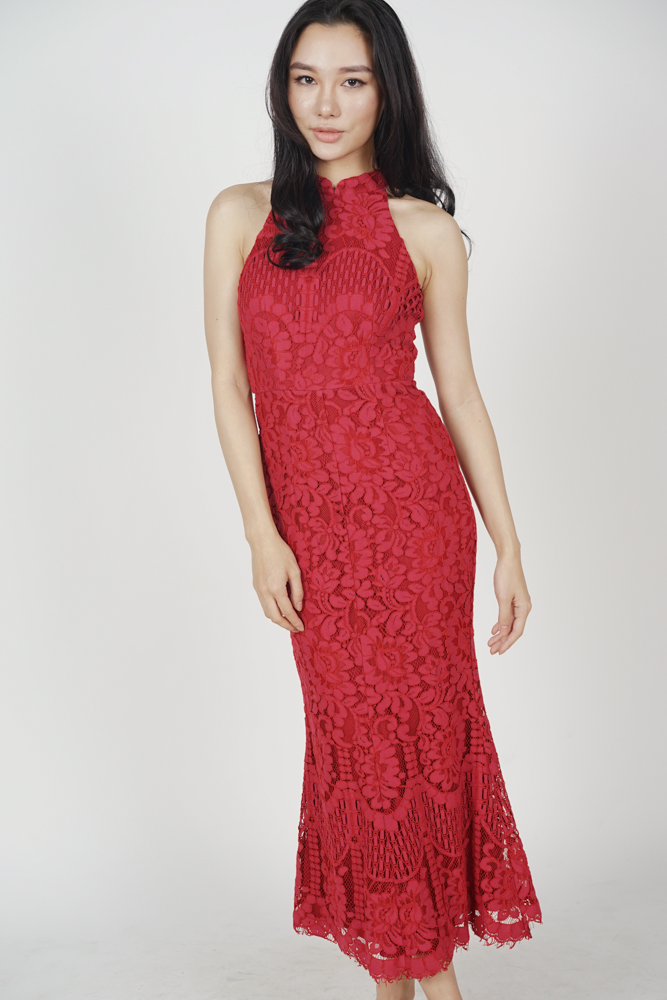 Raielyn Lace Dress in Red