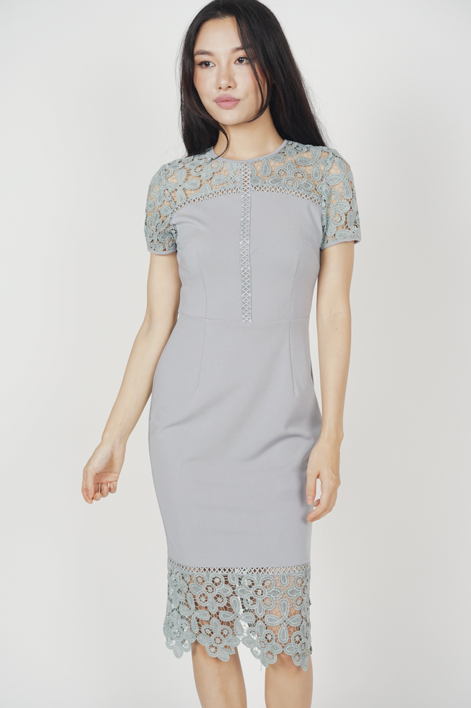 Olivia Lace Dress in Ash Blue