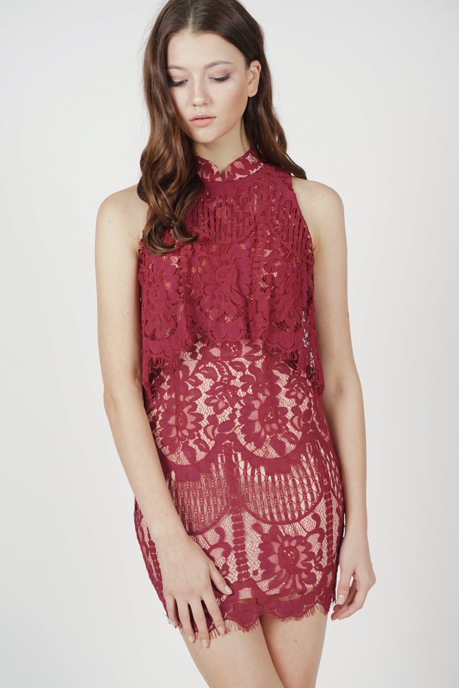 Dorian Lace Dress in Oxblood