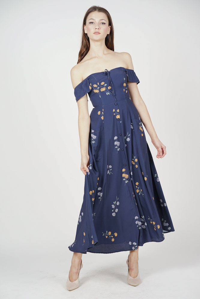 Breilla Off Shoulder Dress in Midnight Floral