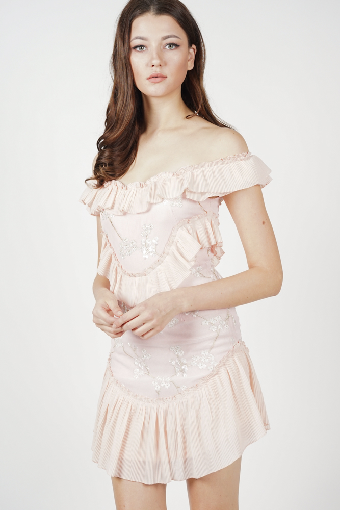 Celeste Frill Dress in Pink