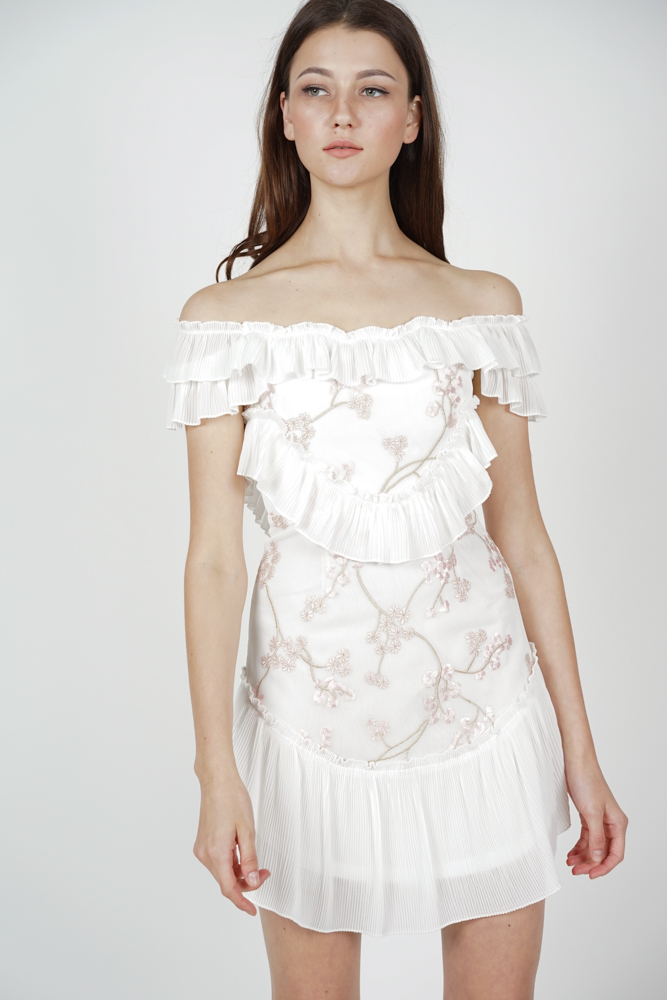 Celeste Frill Dress in White