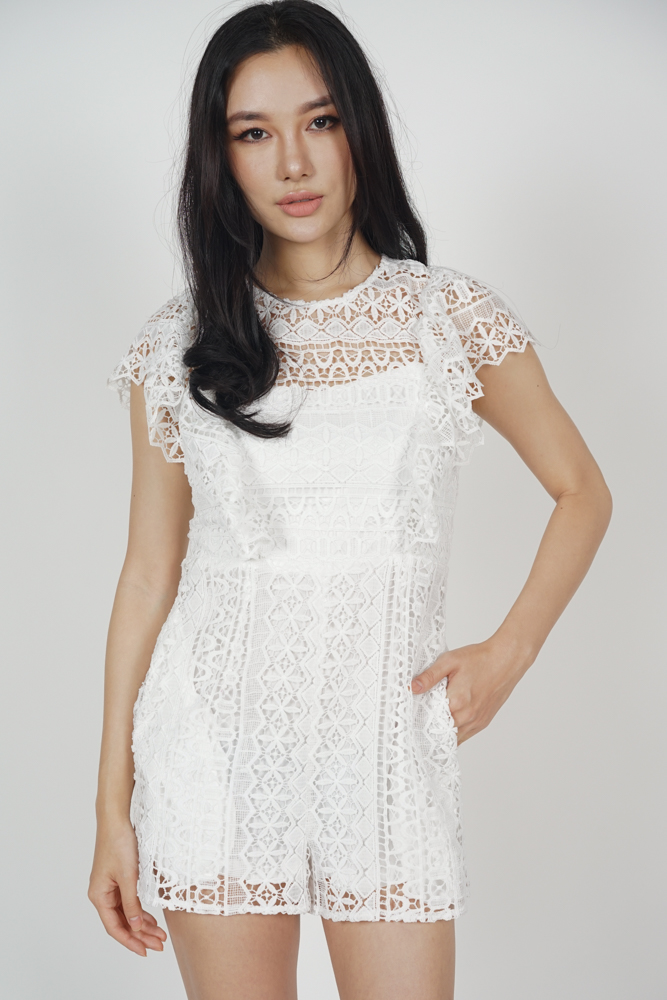 Chaya Crochet Romper in White