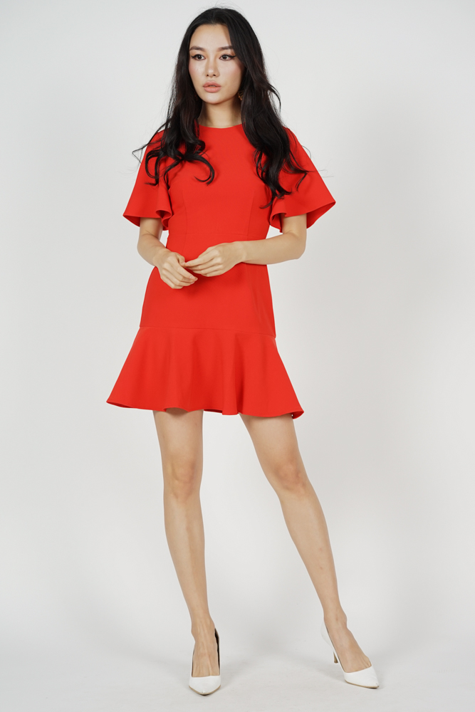 Adola Ruffled-Hem Dress in Red