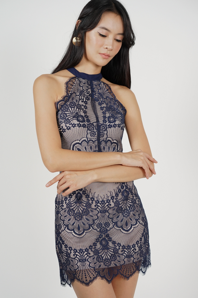 Friesha Lace Dress in Midnight - Arriving Soon