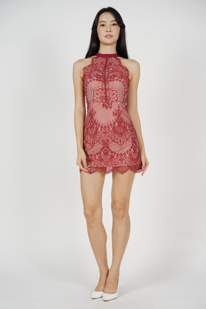 Friesha Lace Dress in Red