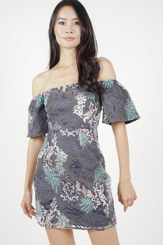 Sunita Off Shoulder Dress in Lavender - Arriving Soon