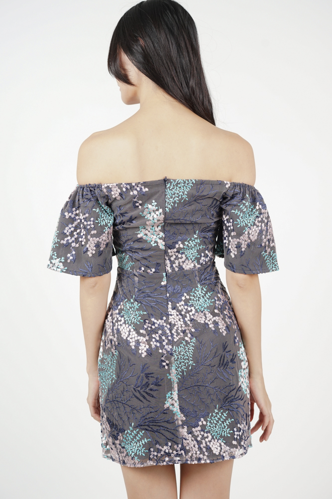 Sunita Off Shoulder Dress in Lavender
