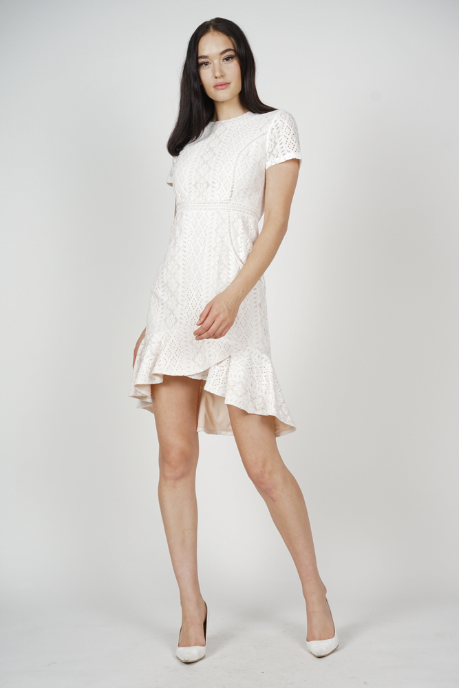 Andrea Lace Dress in White - Arriving Soon