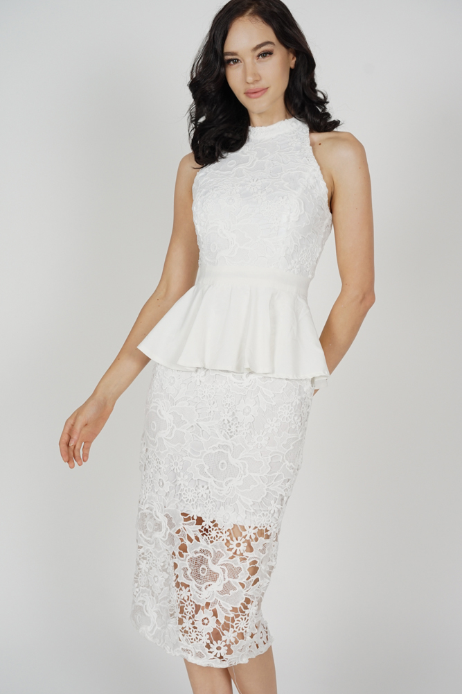 Suzy Peplum Lace Dress in White