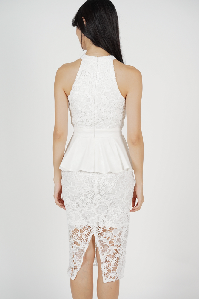 Suzy Peplum Lace Dress in White - Arriving Soon