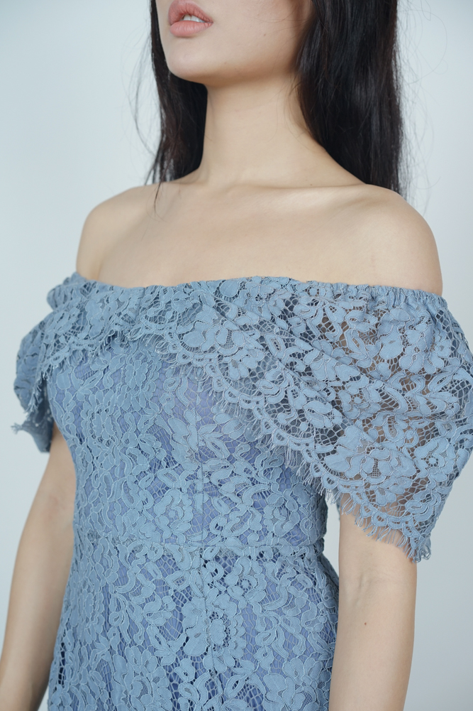 Bethany Ruffled-Hem Dress in Ash Blue - Online Exclusive