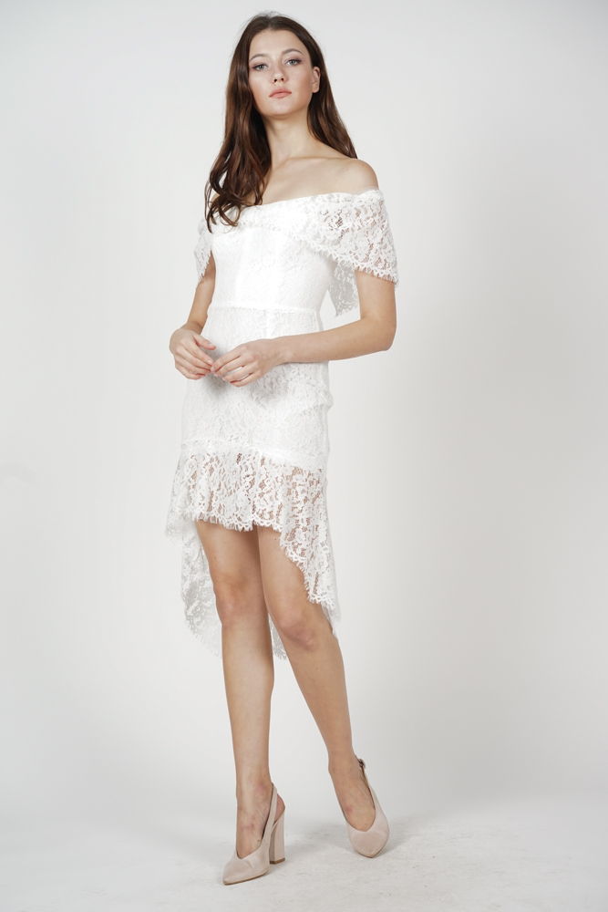 Bethany Ruffled-Hem Dress in White
