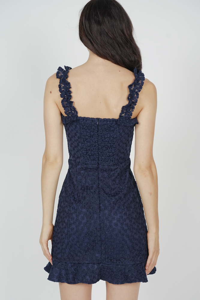 Moyna Lace-Up Dress in Midnight