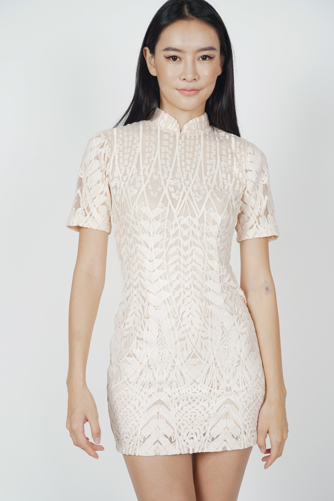 Catrina Lace Dress in Nude