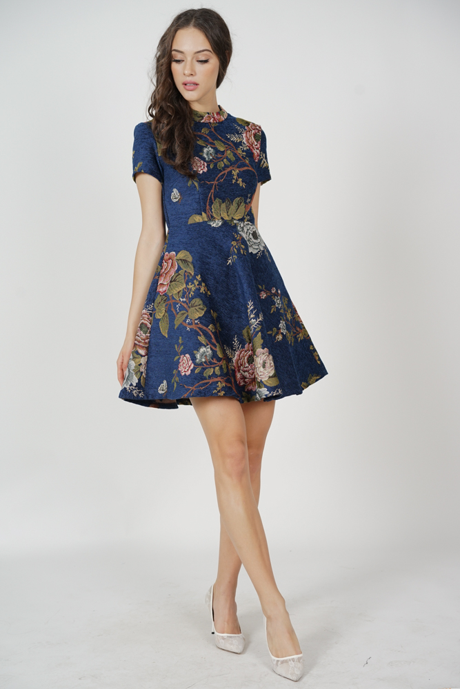 Brenda Flare Dress in Navy