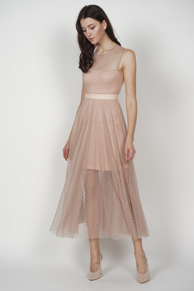 Phaedra Mesh Dress in Nude