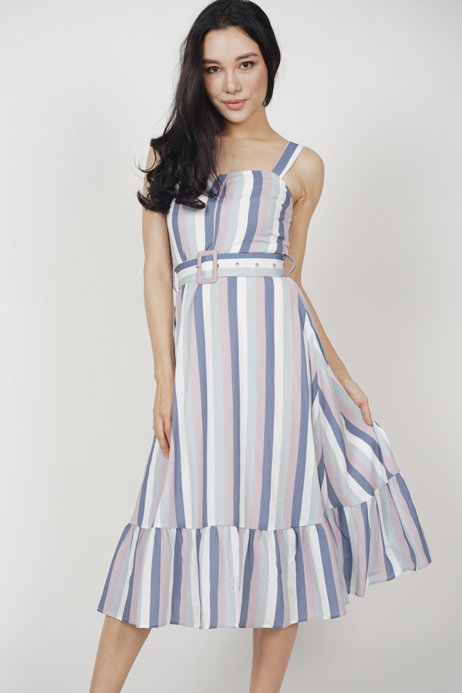Emalyn Flared Dress in Multi Stripes