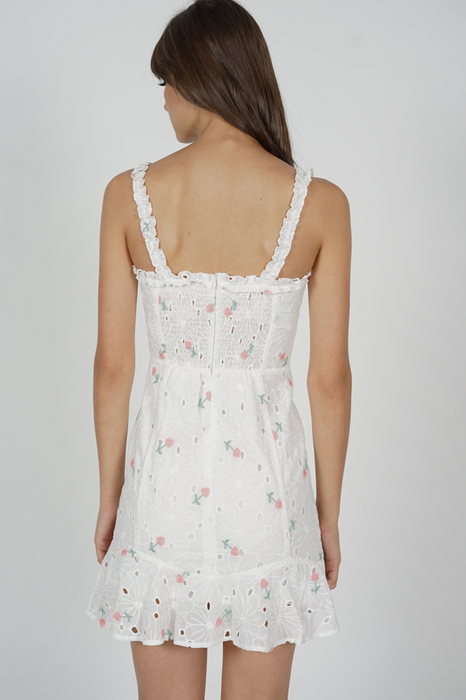 Arlin Lace-Up Dress in White Floral - Arriving Soon