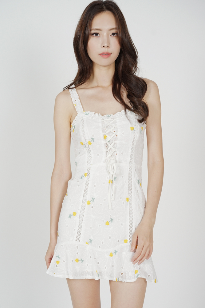 Arlin Lace-Up Dress in Yellow Floral