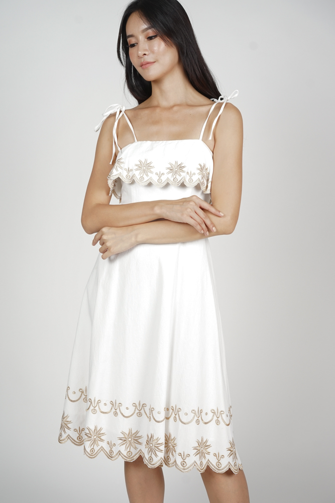 Miller Overlay Dress in White - Arriving Soon