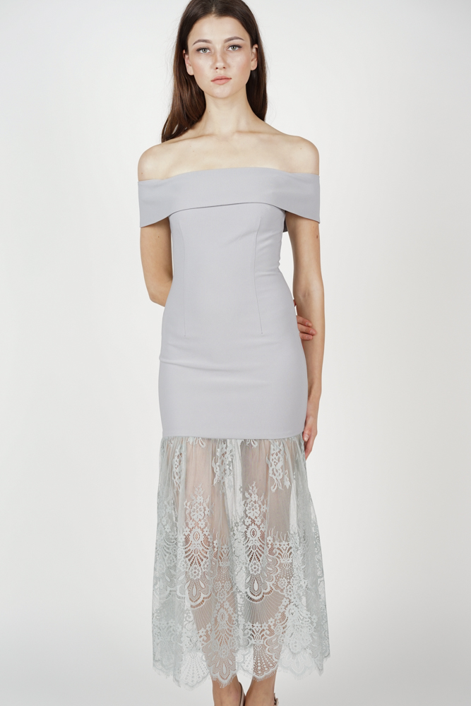 Akana Lace-Hem Dress in Ash Blue - Arriving Soon