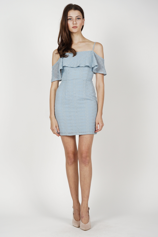 Katrien Overlay Dress in Ash Blue