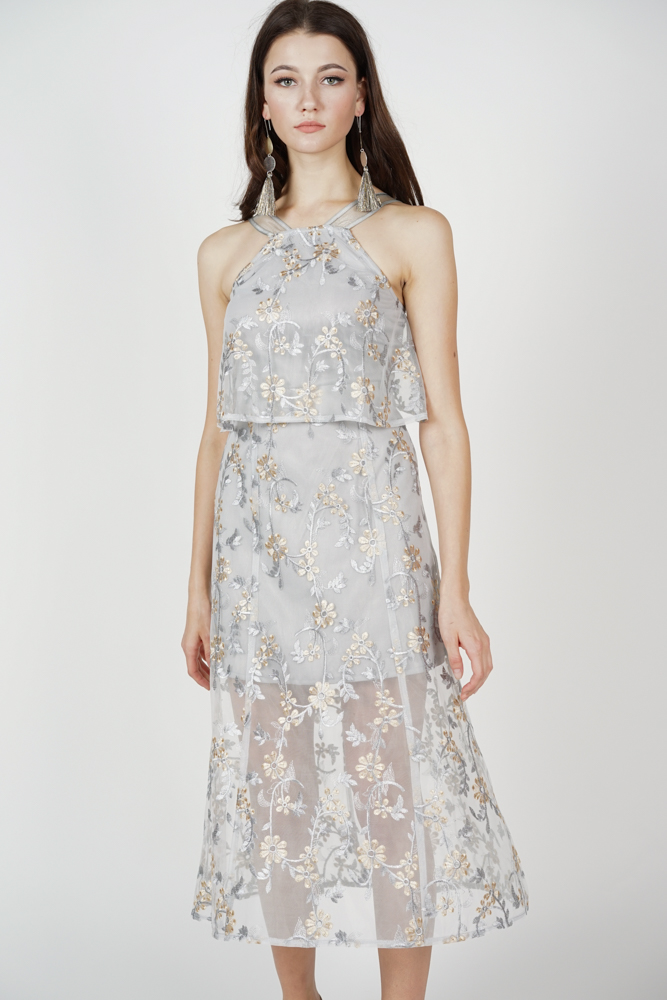 Ariadne Overlay Dress in Grey Floral