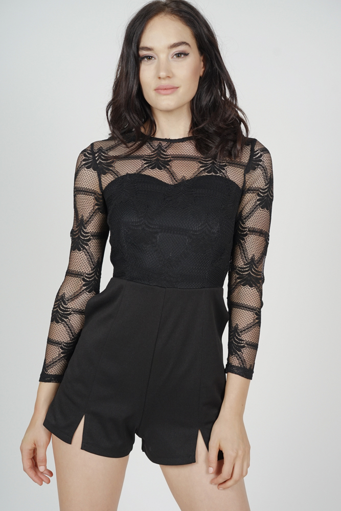 Millia Lace Romper in Black - Arriving Soon