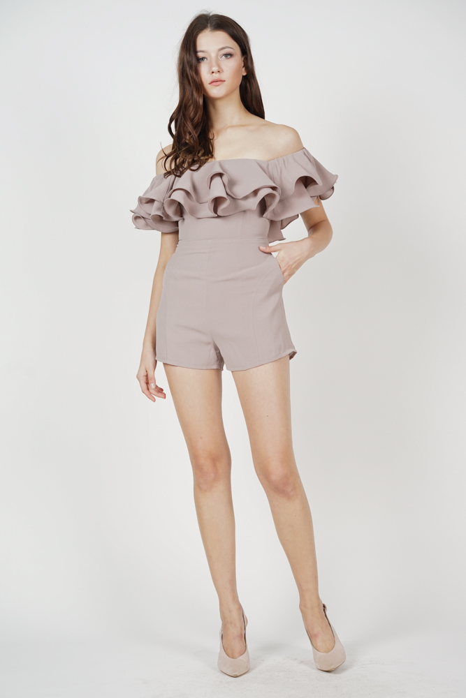 Paesha Ruffled Romper in Grey